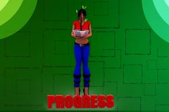 3d woman progress plant illustration Stock Photography