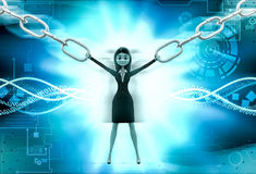 3d woman pull chain concept Stock Photos