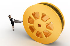 3d woman pull film from big film roll concept Royalty Free Stock Photography