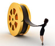 3d woman pull film from big film roll concept Royalty Free Stock Photos