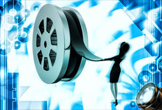 3d woman pull film from big film roll illustration Royalty Free Stock Images