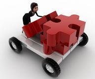 3d woman push puzzle piece on hand truck concept Stock Images