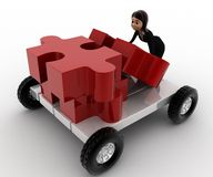 3d woman push puzzle piece on hand truck concept Stock Photo