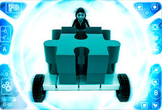 3d woman push puzzle piece on hand truck illustration Royalty Free Stock Photography