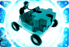3d woman push puzzle piece on hand truck illustration Royalty Free Stock Photo