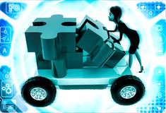 3d woman push puzzle piece on hand truck illustration Stock Photo