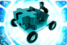 3d woman push puzzle piece on hand truck illustration Royalty Free Stock Photos