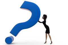3d woman push question mark concept Stock Photos