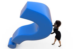 3d woman push question mark concept Royalty Free Stock Photography