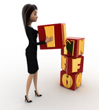 3d woman put info cubes concept Royalty Free Stock Photography