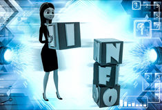 3d woman put info cubes illustration Royalty Free Stock Images