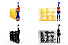 3d woman puzzle concept Collections With Alpha And Shadow Channel Stock Photo
