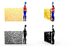 3d woman puzzle concept Collections With Alpha And Shadow Channel Royalty Free Stock Photo