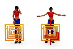 3d woman puzzle concept Stock Photography