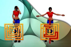 3d woman puzzle illustration Royalty Free Stock Photos