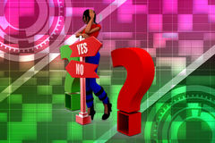 3D woman question answer illustration Royalty Free Stock Photography