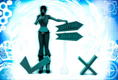 3d woman with question answer sign board illustration Royalty Free Stock Images