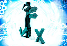 3d woman with question answer sign board illustration Stock Photo