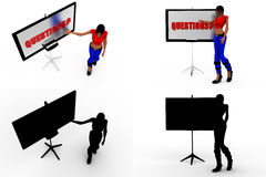 3d woman question on borad concept collections with alpha and shadow channel Stock Image