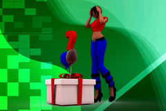 3D woman question box llustration Stock Images