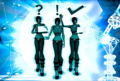 3d woman with question, exclamation and right symbol illustration Stock Images