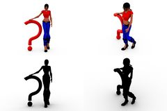 3d woman question mark Concept Collections With Alpha And Shadow Channel Royalty Free Stock Photography
