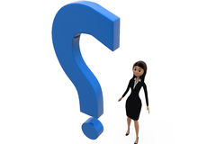 3d woman with question mark concept Stock Photography
