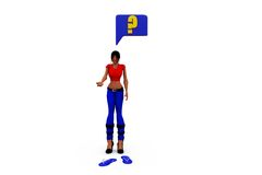 3d woman question sign concept Royalty Free Stock Images