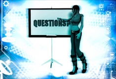 3d woman with question sing board illustration Royalty Free Stock Photography