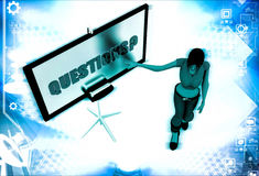 3d woman with question sing board illustration Royalty Free Stock Photo