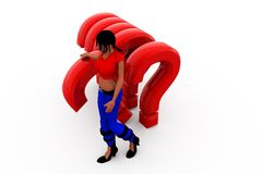3d woman questions concept Stock Photo