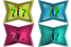 3d woman questions icon Stock Photo