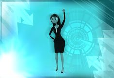 3d woman raising finger illustration Royalty Free Stock Photo