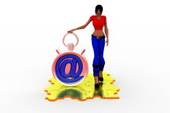 3d woman with at the rate stop watch Stock Images