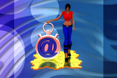 3d woman with at the rate stop watch illustration Royalty Free Stock Photo