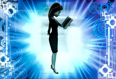3d woman reading while walking illustration Royalty Free Stock Images