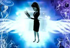 3d woman reading while walking illustration Royalty Free Stock Photo