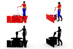 3d woman ready butoon concept Collections With Alpha And Shadow Channel Stock Photography