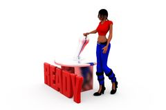 3d woman ready butoon concept Royalty Free Stock Image