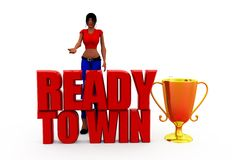 3d woman ready to win concept Royalty Free Stock Photography