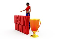 3d woman ready to win concept Royalty Free Stock Image