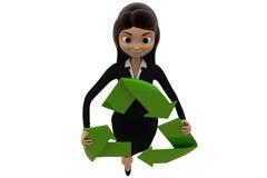 3d woman recycle concept Stock Photos