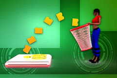 3d woman recyclebin illustration Stock Images