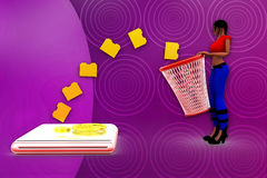 3d woman recyclebin illustration Royalty Free Stock Images