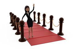 3d woman red carpet concept Royalty Free Stock Photo