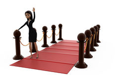 3d woman red carpet concept Royalty Free Stock Photography
