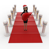3d woman on red carpet with santa hat and gift bag concept Royalty Free Stock Photography