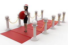 3d woman on red carpet with santa hat and gift bag concept Royalty Free Stock Photo