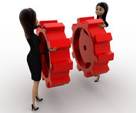 3d woman with red cogwheel concept Stock Photos