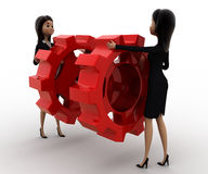 3d woman with red cogwheel concept Royalty Free Stock Images